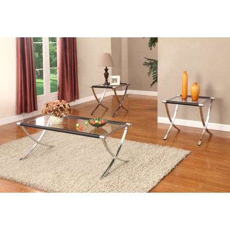 Peggie 3 Piece Coffee Table Set, Chrome Metal Frame & Tempered Glass Top, Modern, (Cocktail Coffee & 2 End Tables)