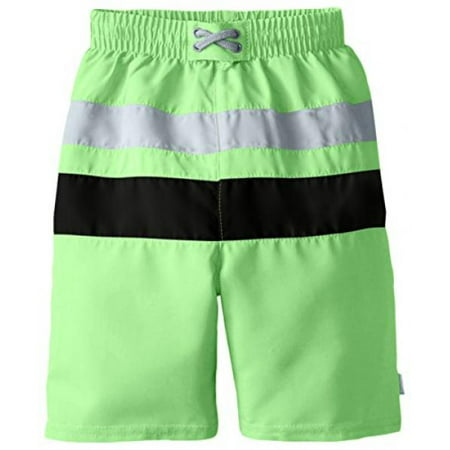 i play. Baby Boys' Colorblock Trunks with Built-In Swim Diaper, Lime/Black, 6 (I Play Trunk)