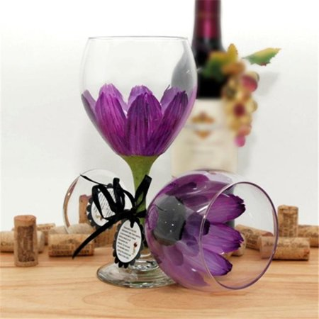 Judi Painted it DA-RV Daisy Painted Wine Glass, Red Violet