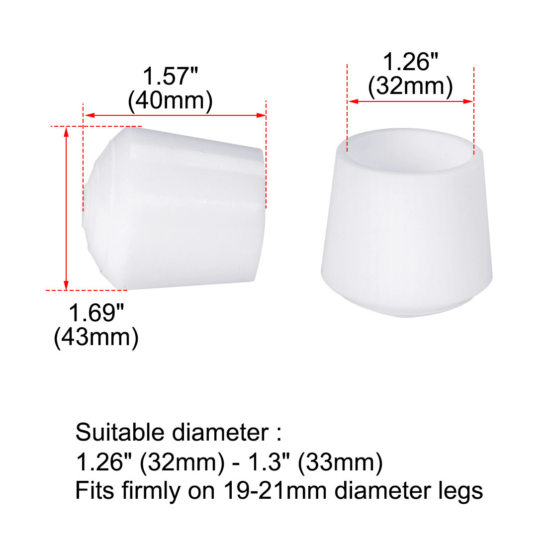 "Rubber Leg Cap Cups Feet Cover 32mm 1 1/4"" Inner Dia 16pcs for Furniture Desk - image 2 of 7"