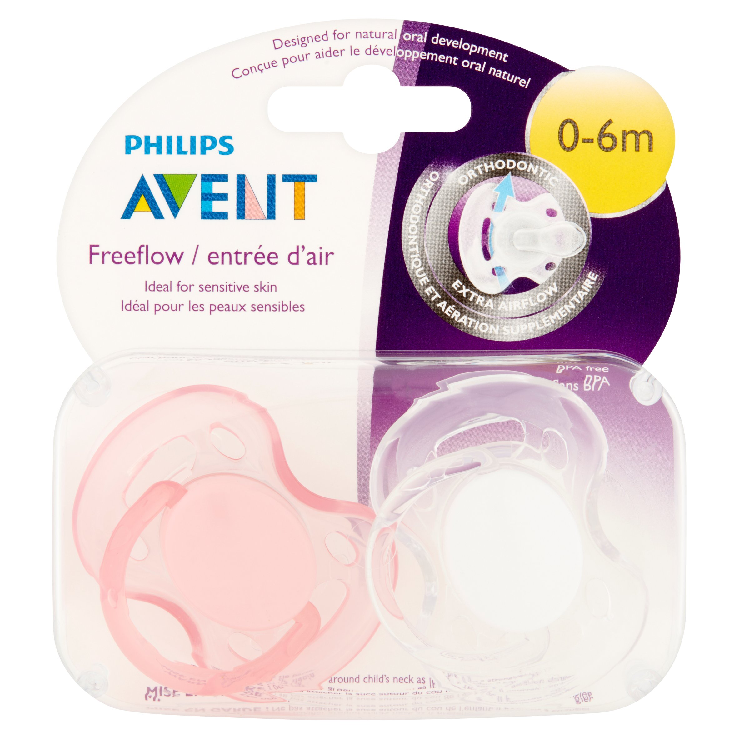 Philips Avent Freeflow 0-6 Months Orthodontic Pacifier, 2 count