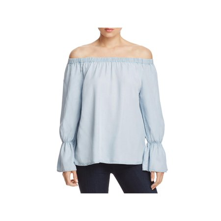 Sanctuary Womens Charlotte Chambray Off-The-Shoulder Casual (Best Chambray Shirt Womens)