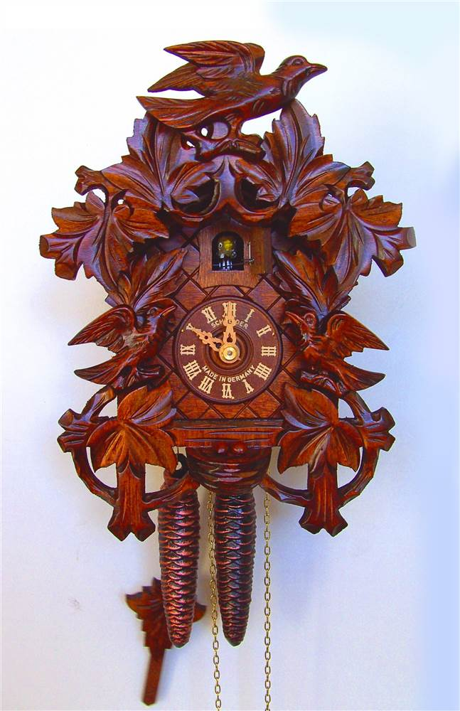 1-Day Wooden Dancers Cuckoo Clock in Honey Finish by Schneider Cuckoo Clocks