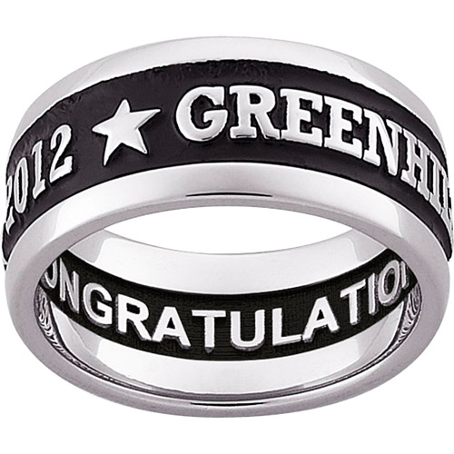 Personalized Sterling-Silver Enameled Carved Wide Band Class Ring