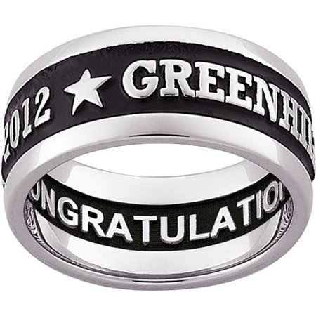 Personalized Guys Sterling Silver Enameled Carved Wide Band Class Ring