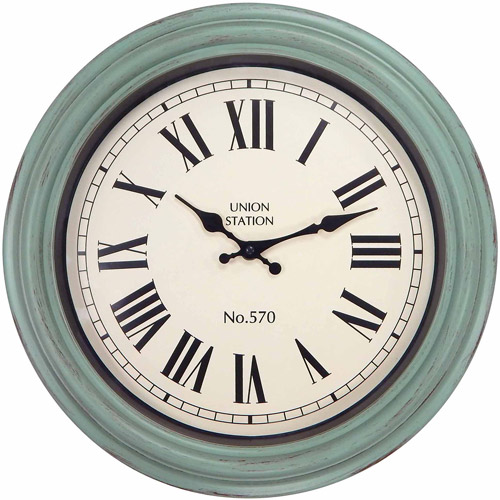"Better Homes and Gardens 14"" Clock, Teal"