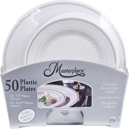 Masterpiece Premium Heavyweight Plastic Plates, White with Silver ...
