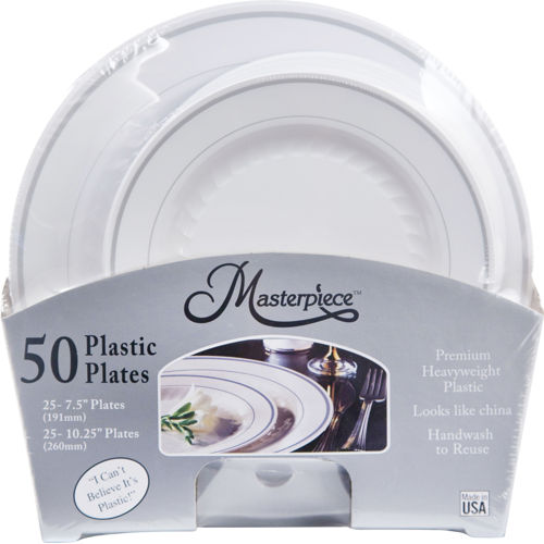 Masterpiece Premium Heavyweight Plastic Plates White with Silver Rim | 25/Dinner Plates (  sc 1 st  Walmart & Masterpiece Premium Heavyweight Plastic Plates White with Silver ...