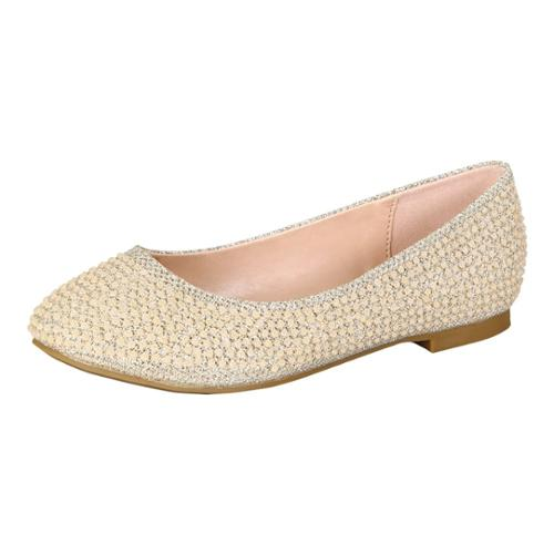 Little Girls Nude Glittery Bejeweled Slip-On Flat Dress Shoes 8-10 Toddler