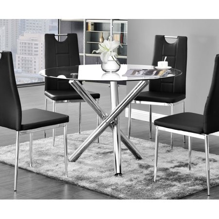 Best Master Furniture Crystal Round Glass Dining Table