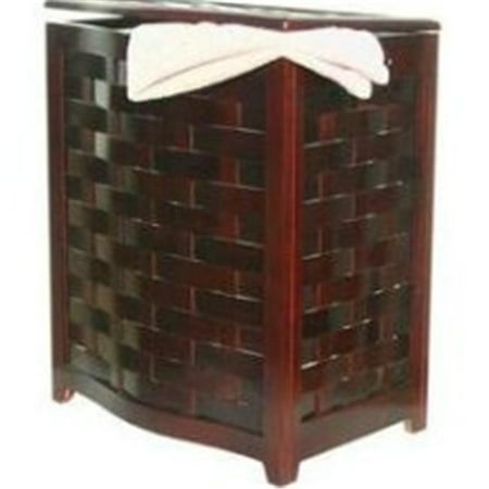 Mahogany Finished Bowed Front Veneer Laundry Wood Hamper with Interior Bag