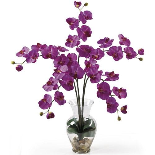 Phalaenopsis Liquid Illusion Silk Flower Arrangement, Orchid