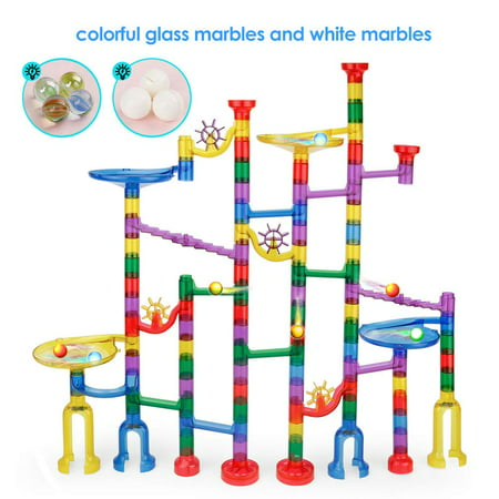 Marble Genius Marble Run Starter Set - 152 Complete Pieces (90 Translucent Marbulous Pieces + 30 Glass Marbles + 32 White Marbles) Construction Building Blocks Learning Toys for