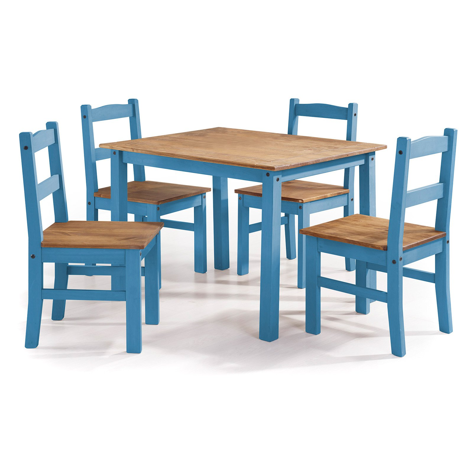 York 5-Piece Solid Wood Dining Set with 1 Table and 4 Chairs in ...