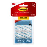 Command Clear Mini Hooks, 18 Hooks, 24 Strips (Holds 0.5 lb)