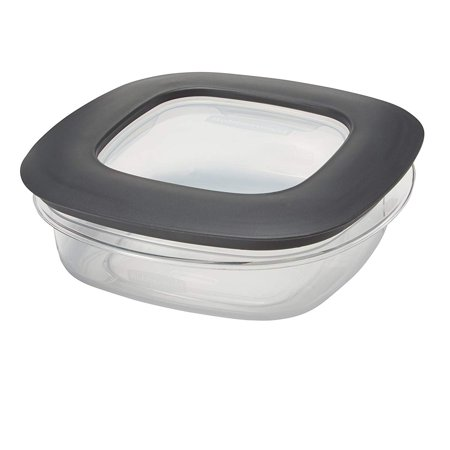 Rubbermaid 1937648 3 Cup Square Premier Plastic Storage Container w/ Lid, Clear