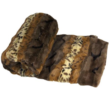 BOON Throw & Blanket Brushed Leopard Double Sided Faux Fur (Faux Fur Leopard)