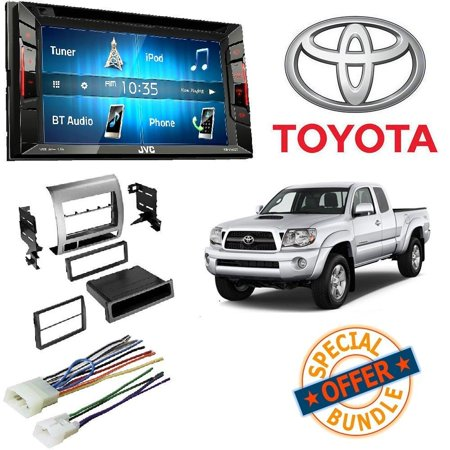 JVC KW-V140BT Double Din BT In-Dash DVD/CD/AM/FM Stereo + Toyota Tacoma Double Din Car Stereo Radio Installation Dash Mount Kit