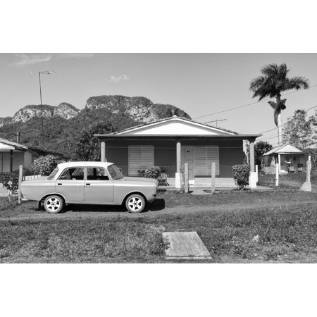 Cuba Fuerte Collection B&W - Classic car in Vinales Valley Print Wall Art By Philippe