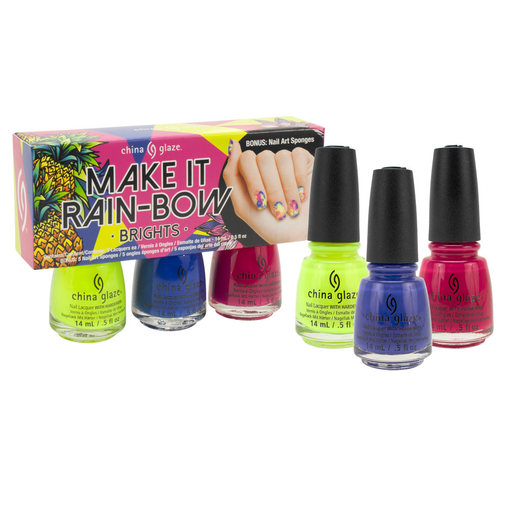 China Glaze .5oz Nail Polish Lacquer 3pc Summer Favorites Collection, MAKE IT RAINBOW BRIGHTS, 82688