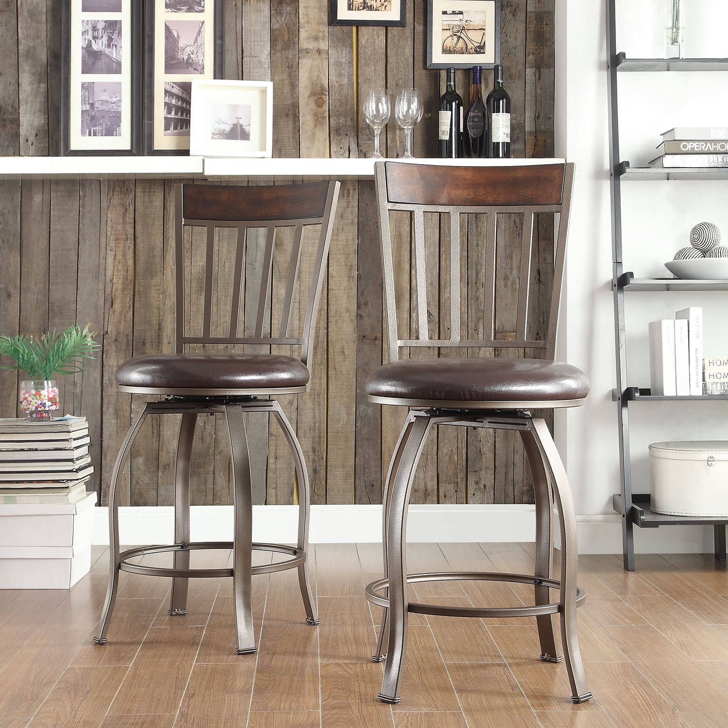 Weston Home Cadewyn Brown Faux Leather Counter Height Swivel Chair, Set Of 2