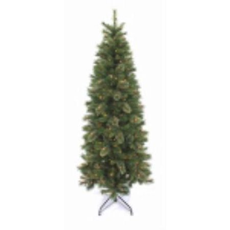 7' Quik Lite Oak Creek Slim Pine Artificial Christmas Tree Hinged Cons (Small Oak Tree)