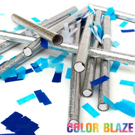 Gender Reveal Blue Confetti Cannons by Color Blaze - set of 10 blue confetti sticks](Gender Reveal Confetti)