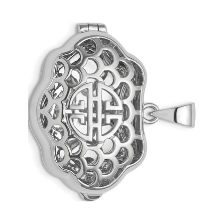 Silver Chinese Symbol Pendant (Leslies Fine Jewelry Designer 925 Sterling Silver Rhodium-plate Chinese Symbol For Wealth Locket (27x20mm) Pendant Gift )