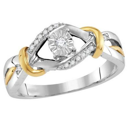 10K White Gold Diamond Promise Ring Engagement Ring Two Tone 1/10ctw (i2/i3, i/j) Size 7 2 Tone Gold Diamond Ring