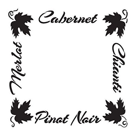 (French Wines Stencil by StudioR12 | Grape Leaves Frame Word Art - Medium 10 x 10-inch Reusable Mylar Template | Painting, Chalk, Mixed Media | Use for Crafting, DIY Home Decor - STCL1035_1)