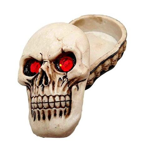 REAPER SKULL TRINKET BOX WITH RED EYES SKELETON GRAVEYARD SKULL FACES RIM (Half Skeleton Face)