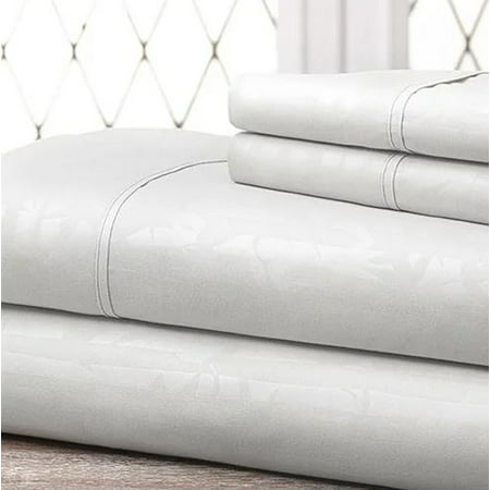 4-Piece Bamboo Embossed Bed Sheet Set - Hotel Quality Sheet Set Champagne