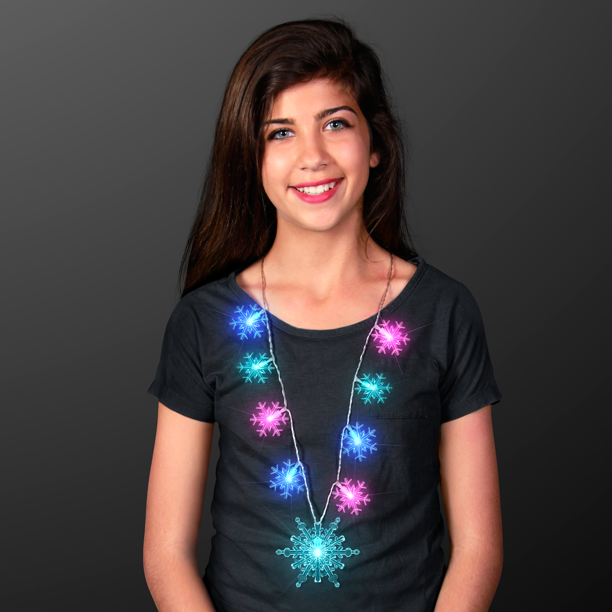 FlashingBlinkyLights Frozen Snowflake Light Up LED String Lights Necklace