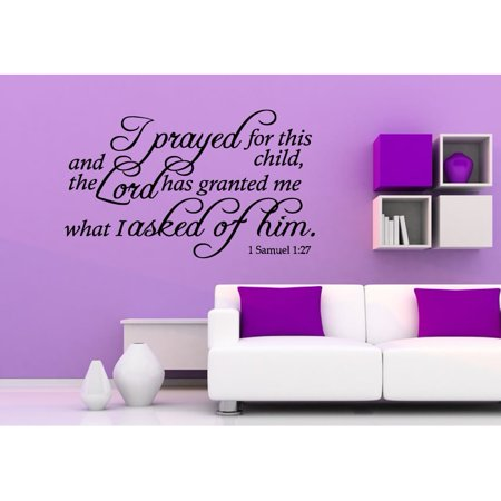 Stickalz llc Prayed For This Child quote Wall Art Sticker Decal ...