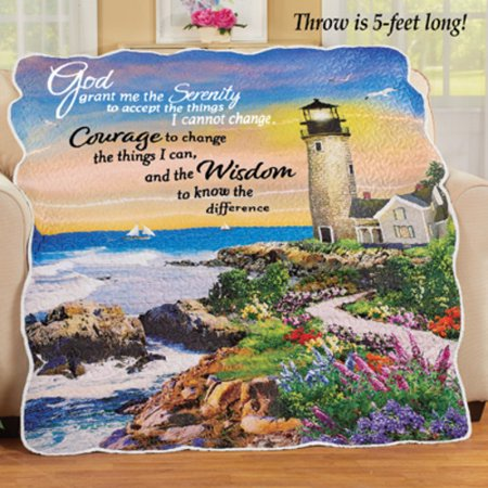 Serenity Prayer Seaside Lighthouse Throw Blanket