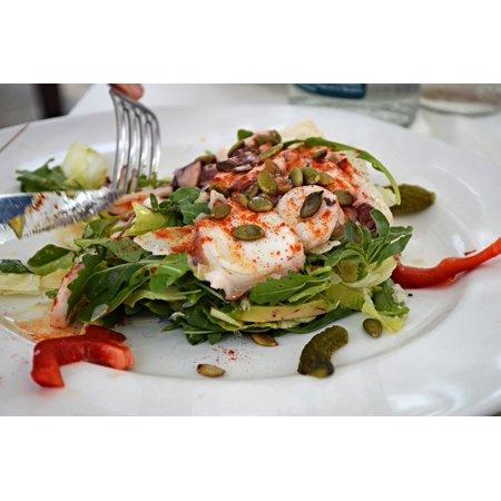 Canvas Print Salad Dish Cuisine Restaurant Meal Shrimps Dinner Stretched Canvas 10 x (Top 10 Best Restaurant Salads)