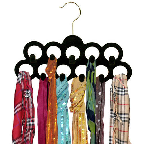 3-Pack Velvet Scarf Hanger with Hook, Black