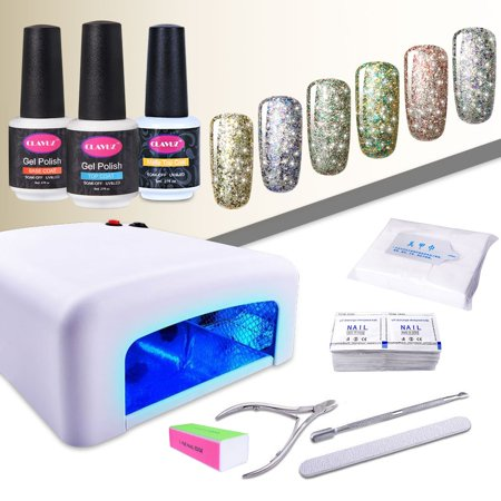 CLAVUZ 6pcs Soak Off Starry Gel Nail Polish UV LED Glitter Nail Lacquer Top And Base Coat Set 36W UV Nail Lamp Manicure New Starter Nail Art Tool Kit-C001 ()