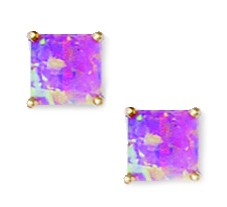 14k Yellow Gold Pink 6x6mm Square Simulated Opal Earrings by