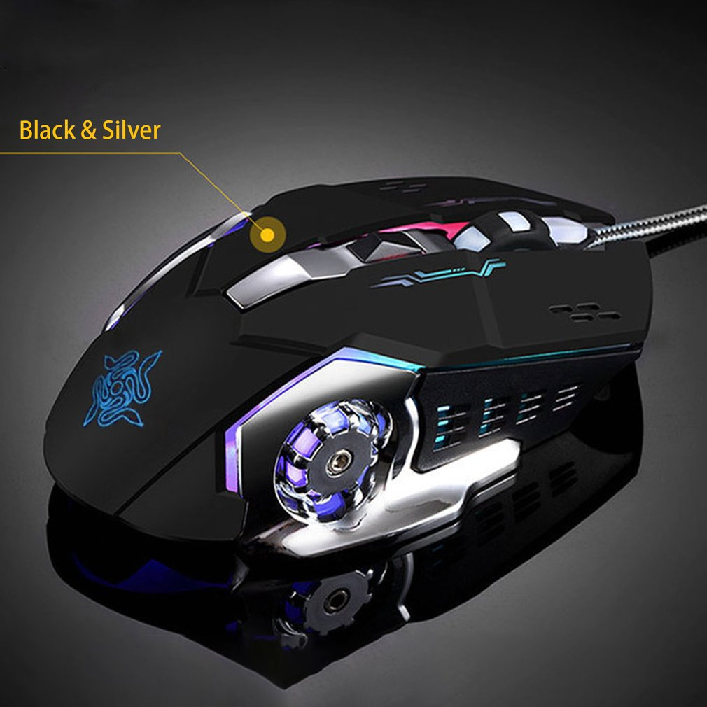 Ergonomic Mechanical Gaming Mouse 3200DPI 6 Buttons Computer Mouse Luminous USB Wired Mouse for PC Computer Laptop