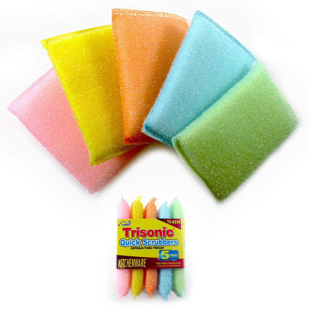 5 Quick Scrubbers Multipurpose Sponge Kitchen Cleaning Scratch Free Durable Pad