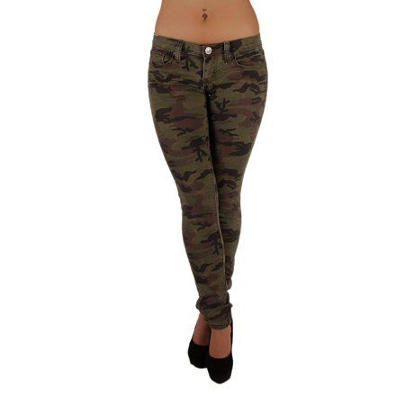 Women's Plus Size Classic 5 Pockets Camouflage Skinny Jeans