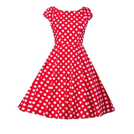 Ladies Casual Cocktail Formal Party Evening Ball Gowns 50S 60S Sleeveless Polka Dots Swing Pinup Retro Summer Vintage Dress (Casual Formal Wear)