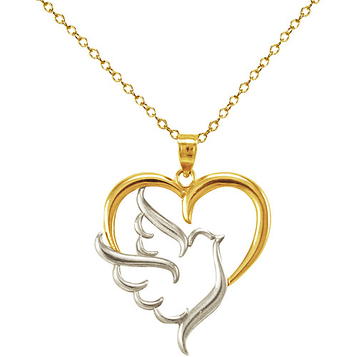 Heart with Dove Sterling Silver and 10kt Gold Necklace, 18""