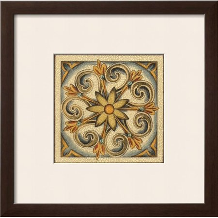 Cloisonne Button (Crackled Cloisonne Tile II Framed Art Print Wall Art  By Chariklia Zarris - 19x19 )