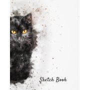 Sketch Book : Watercolor Black Cat Themed Personalized Artist Notebook and Blank Paper for Drawing, Painting Creative Doodling or Sketching