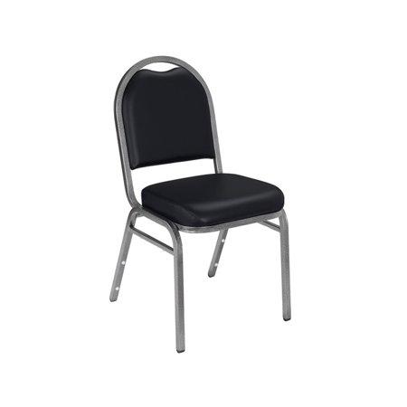 Vinyl Padded Stack Chair - NPS® 9200 Series Premium Vinyl Upholstered Padded Stack Chair, Panther Black/Silvervein (2 Pack)
