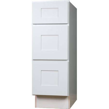 Everyday cabinets 18 inch white shaker 3 drawer base for Kitchen cabinets 6 inch