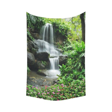 GCKG Garden Flower Black Stone Waterfall Tapestry Wall Hanging Green Nature Wall Decor Art for Living Room Bedroom Dorm Cotton Linen Decoration 60 x 90 Inches