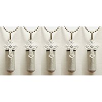 Family Set of FIVE Brushed Silver LACE CROSS ANOINTING OIL HOLDERS - Laser ENGRAVED with Hearts - Includes 5 Velvet Pouches, 5 Ball-Chains & Funnel - - Makes a wonderful Christmas Gift!